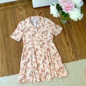 Zara light pink floral button up mini dress